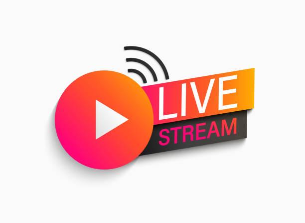 ilustrações, clipart, desenhos animados e ícones de símbolo de transmissão ao vivo, ícone. - live