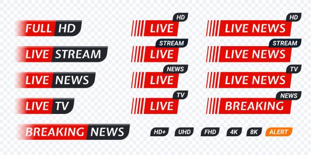 stockillustraties, clipart, cartoons en iconen met live stream tv nieuws labelpictogram. videosymbool levende uitzenden - hdri landscape