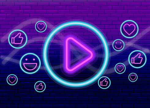 Live Streaming Event neon social media banner design with play button and interactive icons on purple brick wall