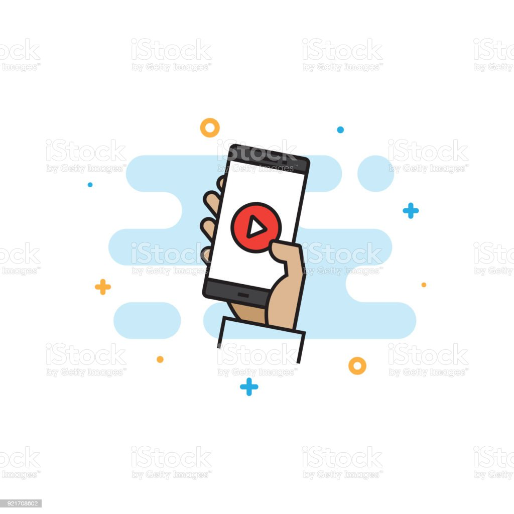 Live Streaming Flat Line Icon vector art illustration