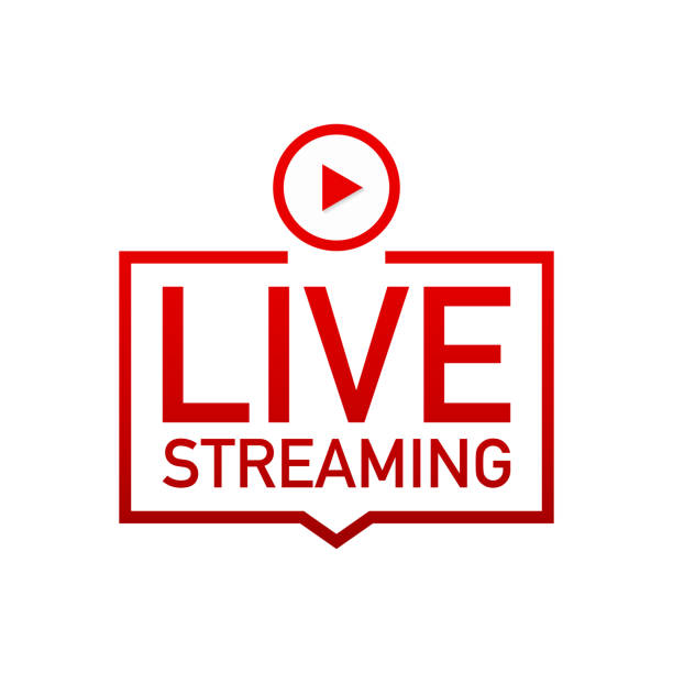 illustrazioni stock, clip art, cartoni animati e icone di tendenza di live streaming flat logo - red vector design element with play button. - vitalità