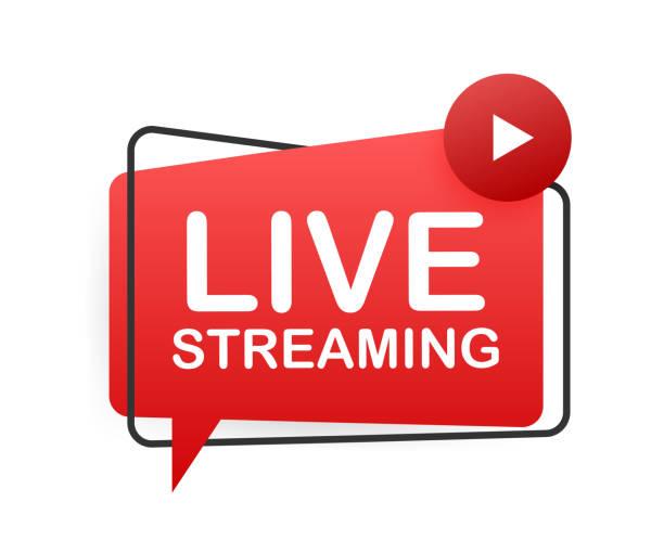 live-streaming flach, rot vektor-design-element mit play-taste. vektor-illustration - film oder fernsehvorführung stock-grafiken, -clipart, -cartoons und -symbole