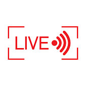 Live streaming flat vector icon. Red design element for news,radio,TV or online broadcasting isolated on white background.