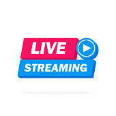 Live Streaming Icon, Badge, Emblem for broadcasting or online tv stream. Vector in material, flat, design style