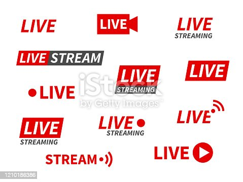 Live streaming icons. Broadcasting video news, tv stream screen banners. Online channel, live event stickers isolated vector set for living show technology