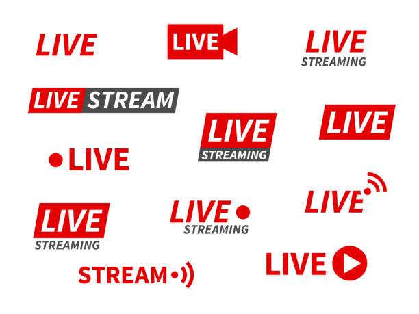 ilustrações, clipart, desenhos animados e ícones de ícones de transmissão ao vivo. transmitindo notícias em vídeo, banners de tela de transmissão de tv. canal online, adesivos de eventos ao vivo conjunto vetorial isolado - live