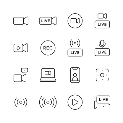 Live Streaming Line Icons. Editable Stroke. Pixel Perfect. For Mobile and Web. Contains such icons as Live, Web Streaming, Video Streaming, Broadcasting, Podcast, Television, Sport, Device Screen, Film and Movie, Social Media, Influencer, Device Screen.