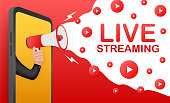 Live streaming, megaphone no smartphone screen. Can be used for business concept. Advertising. Web video player. Vector stock illustration