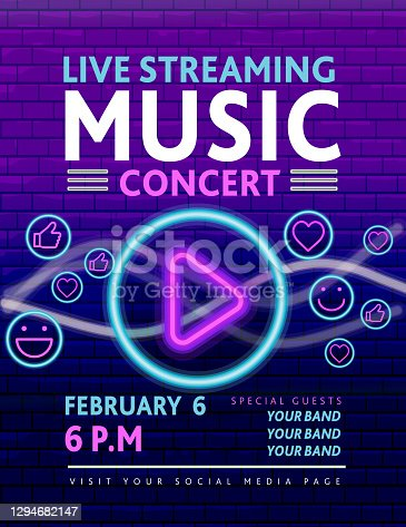 istock Live Streaming Music neon sign concert social media banner design with guitar and play button concept on purple brick wall 1294682147