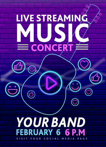 Live Streaming Music neon sign concert social media banner design with guitar and play button concept on purple brick wall