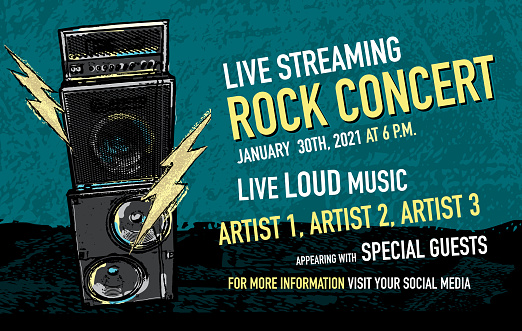 Live Streaming Rock concert social media banner design with stack amplifier and lightning bolts