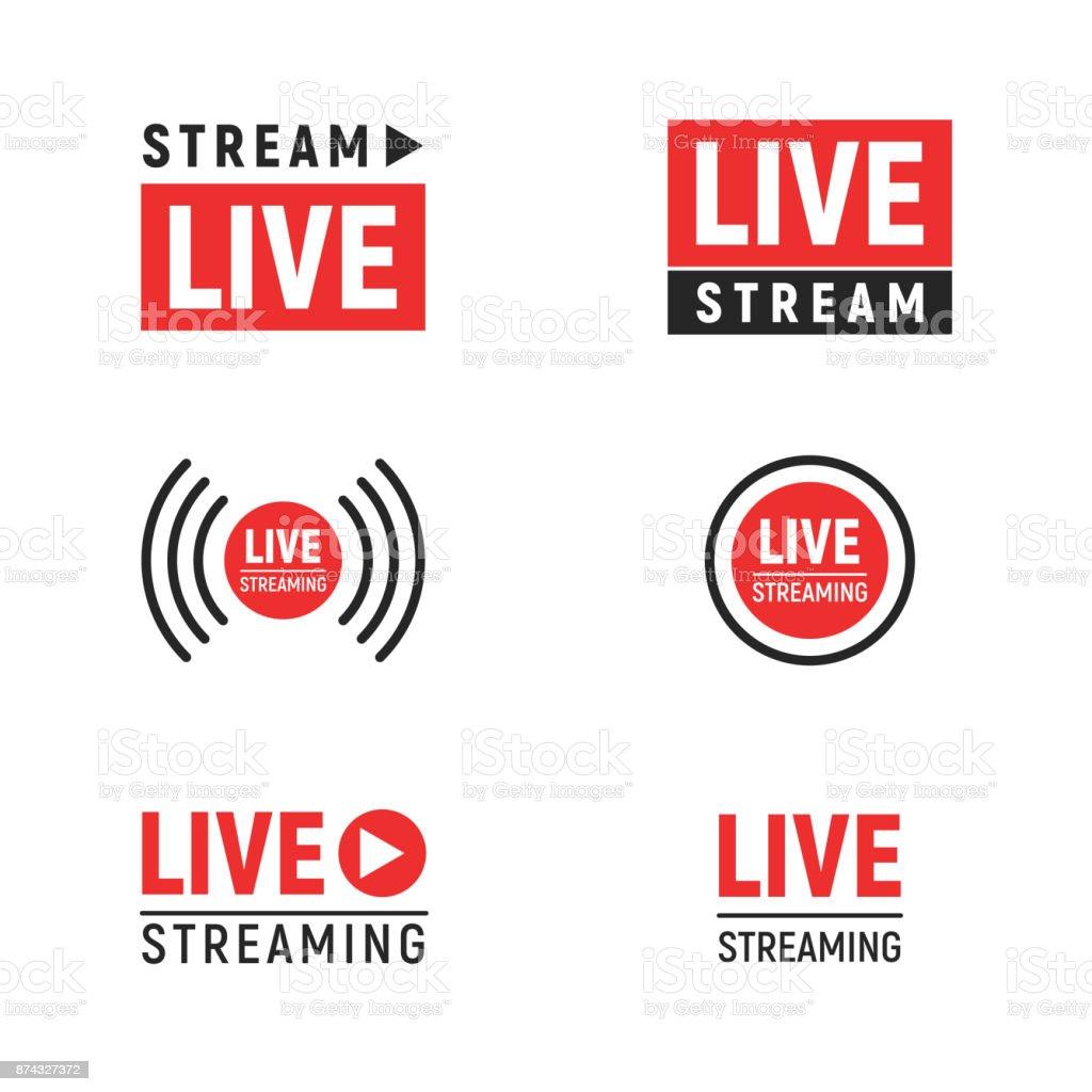 Live streaming symbols set vector art illustration