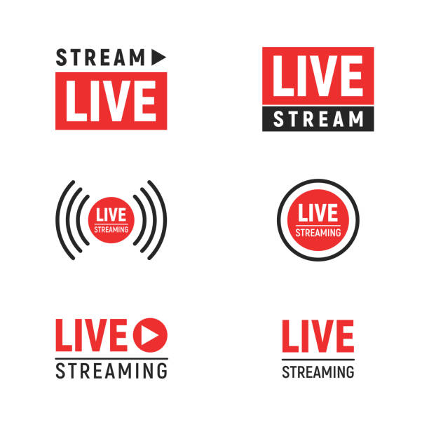 Live streaming symbols set Live streaming symbols set. Web TV and online broadcasting icons. Vector illustration template design elements isolated on white background broadcasting stock illustrations