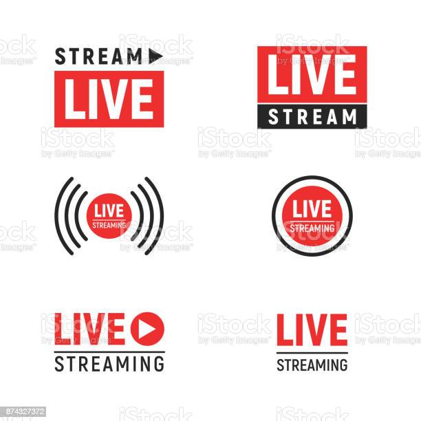 Live streaming symbols set. Web TV and online broadcasting icons. Vector illustration template design elements isolated on white background