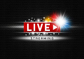 Live streaming with light on black metal texture background vector illustration