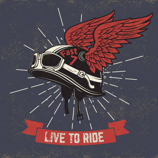 ilustrações de stock, clip art, desenhos animados e ícones de viver para corrida. capacete de motocicleta com asas sobre fundo grunge - helmet motorbike
