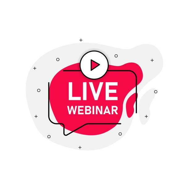 ilustrações de stock, clip art, desenhos animados e ícones de live vebinar abstraction red stamp vector isolated on white background. vector illustration. - webinar