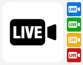 Live Video Icon. This 100% royalty free vector illustration is featuring a blue square button with a drop shadow and the main icon is depicted in white. There are 8 additional alternative variations in different colors on the right.