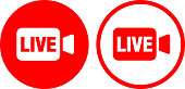 Live Video Icon. This 100% royalty free vector illustration is featuring a round shaped red button. The main icon is depicted in white. There is an alternative variation with a red outline and white background on the right.
