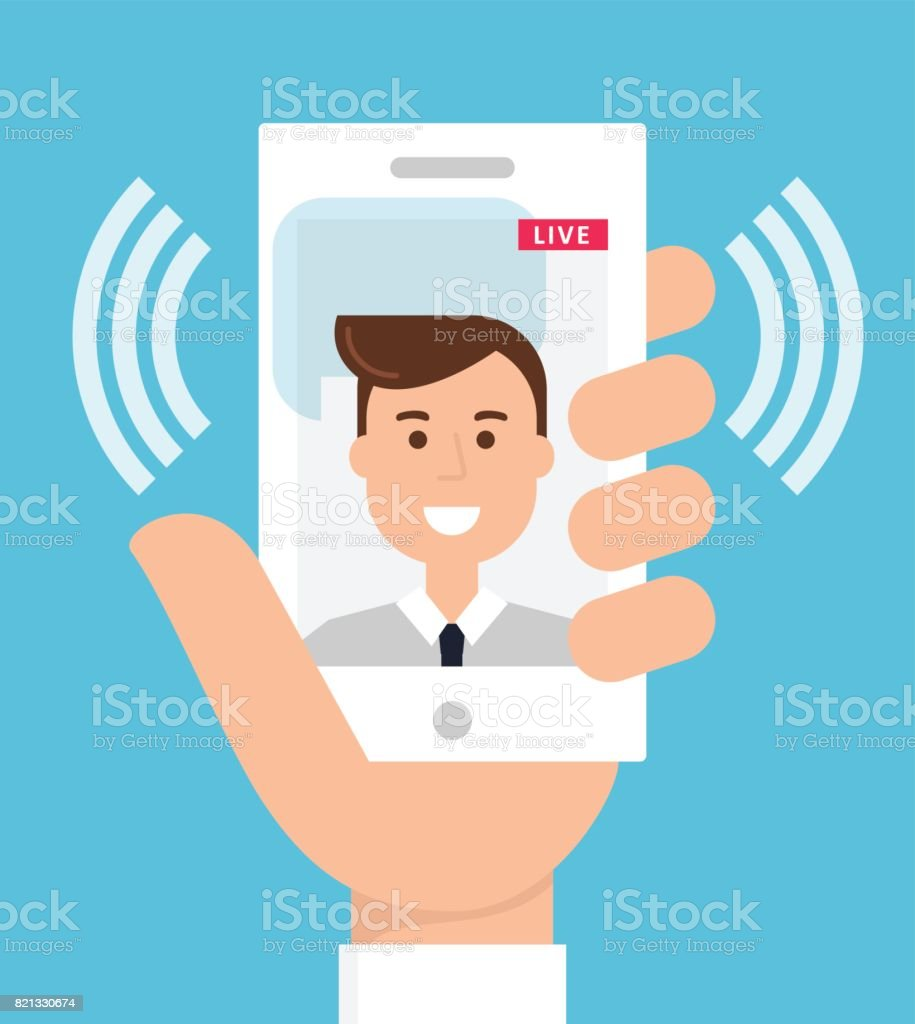 Live Video Streaming from Cell Phone vector art illustration