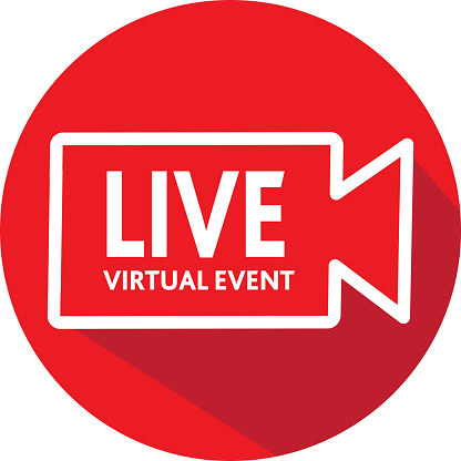 Live Virtual event Icon in red color