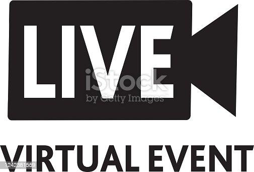 istock Live Virtual event Icon 1242381559