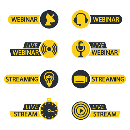 Live webinar and stream button icons. Flat icons for video conference, webinar, Video chats, online course, distance education, video lecture, conference, live streaming. Broadcasting symbols