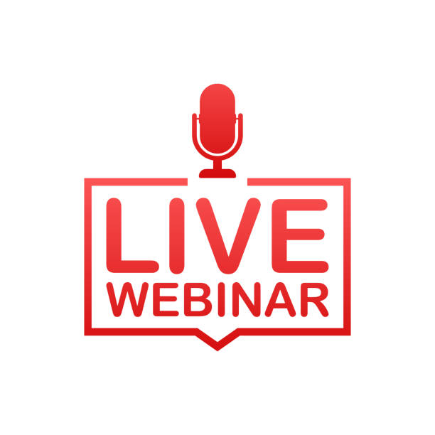 live webinar button, badge, icon, logo. vector illustration. - webinar stock-grafiken, -clipart, -cartoons und -symbole