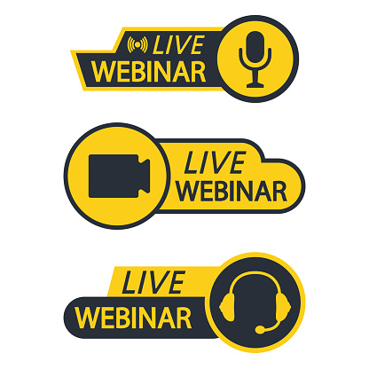 Live Webinar Button, icon, emblem, label. Basic icons for Video Conference, Webinar, Video chat. Online course, distance education, video lecture, internet group conference. Broadcasting icon