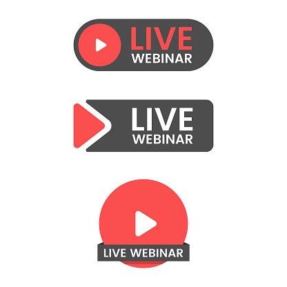 Live Webinar Button Icon Set Vector Design.