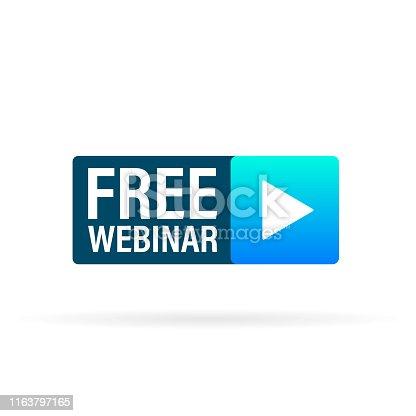 istock Live Webinar Button, icon. Vector design. 1163797165