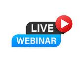 Live Webinar Button, icon Vector illustration