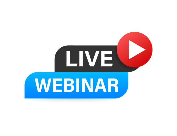live webinar button, symbol. vektor-stock-illustration - webinar stock-grafiken, -clipart, -cartoons und -symbole