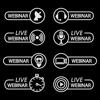 Live webinar buttons. Outline icons for video conference, webinar, Video chats, online course, distance education, video lecture, conference, live streaming. Broadcasting in real time