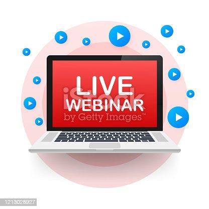 istock Live webinar for concept design. Digital banner. Virtual concept. Video play button symbol. Vector stock illustration. 1213028927