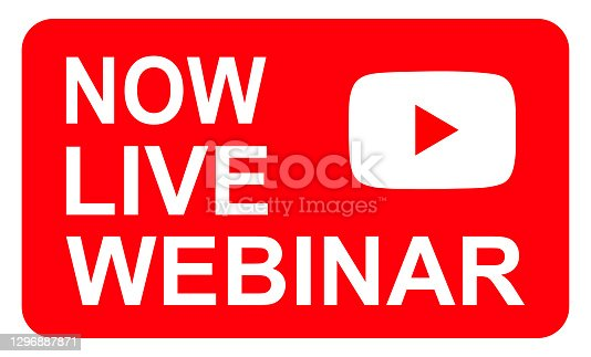 istock Live webinar icon, online play training seminar , internet streamimg  banner button , vector illustration 1296887871