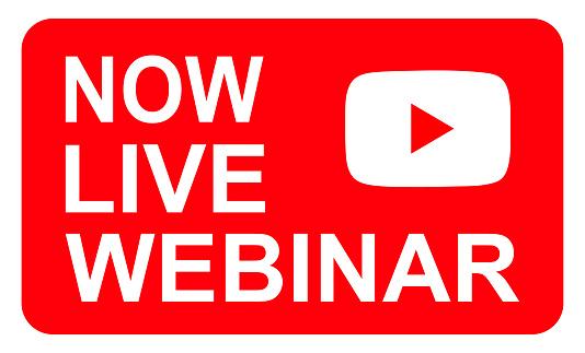 Live webinar icon, online play training seminar , internet streamimg  banner button , vector illustration .