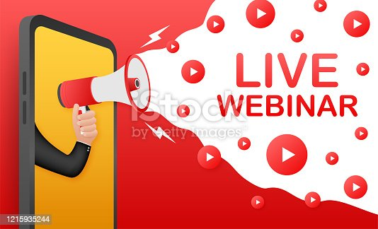 istock Live webinar, megaphone no smartphone screen. Can be used for business concept. Vector stock illustration. 1215935244