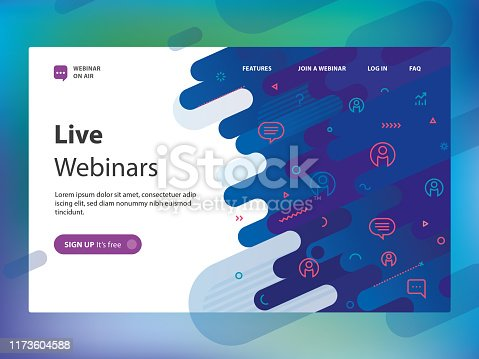Website template including abstract background and minimalistic outline webinar icons.