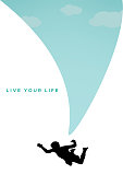 Live your Life Motivation Concept with Parachuting Silhouette Character Vector Template