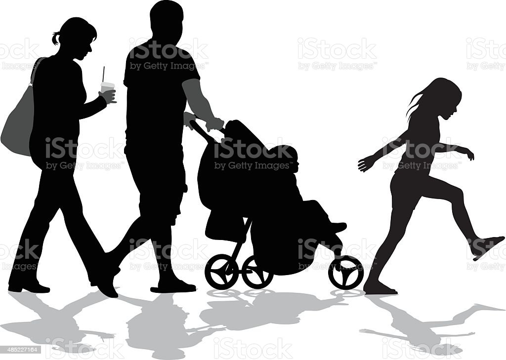 Lively Step Family vector art illustration