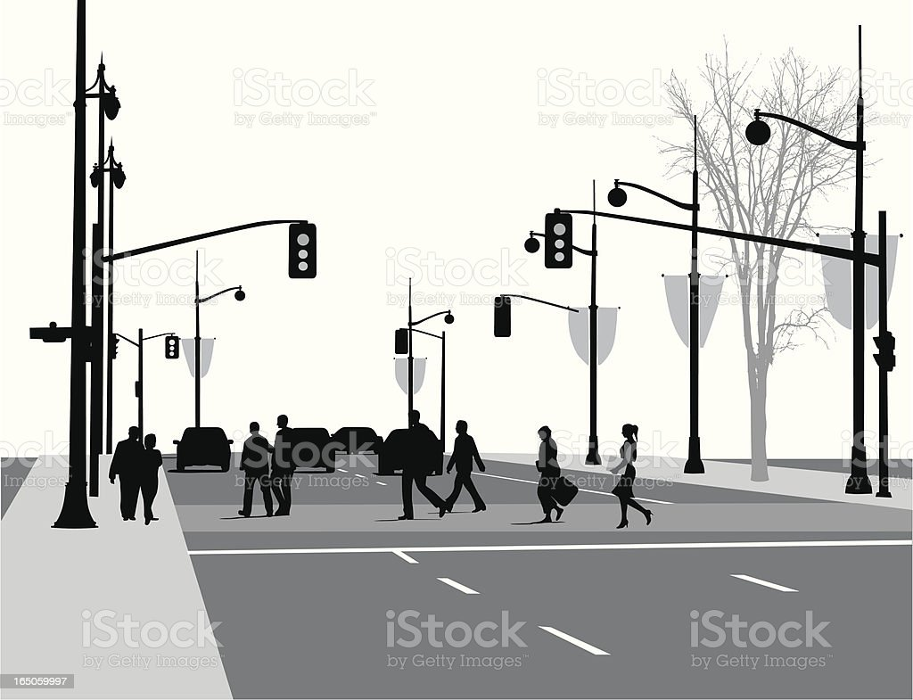 Lively Street Vector Silhouette royalty-free stock vector art