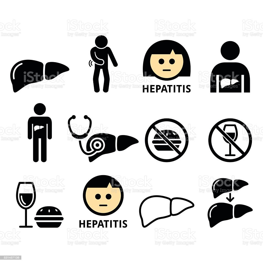 Liver disease, Hepatitis - health icons set vector art illustration