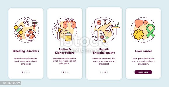 istock Liver failure outcome onboarding mobile app page screen with concepts 1313268725