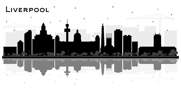Liverpool City Skyline Silhouette with Black Buildings and Reflections Isolated on White.
