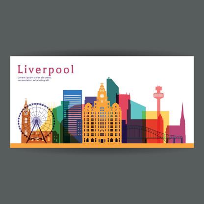 Liverpool colorful architecture vector illustration, skyline city silhouette, skyscraper, flat design.