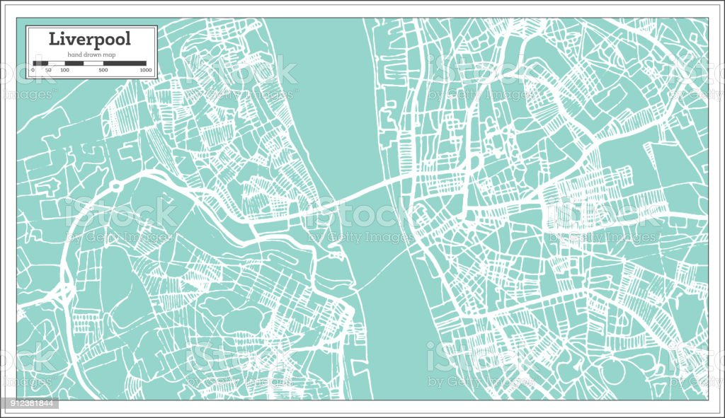 Liverpool England City Map in Retro Style. Outline Map. vector art illustration