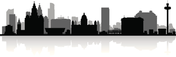 Liverpool England city skyline vector silhouette