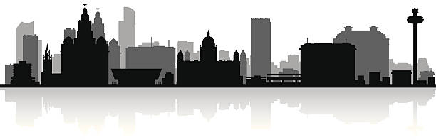 Liverpool England city skyline vector silhouette Liverpool England city skyline silhouette vector illustration waterfront stock illustrations