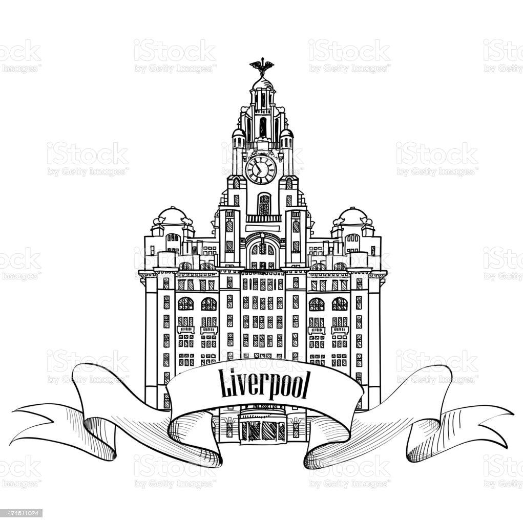 Ilustración de Liverpool Hígado Edificio Inglaterra Reino Unido ...